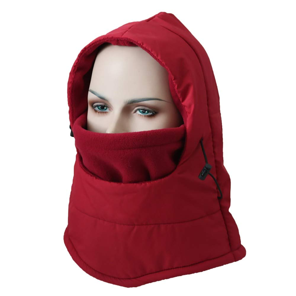 Hmlai Multi-Function Mask Balaclava Windproof Ski Mask Cold Weather Face Cover (Style 2-Wine Red)