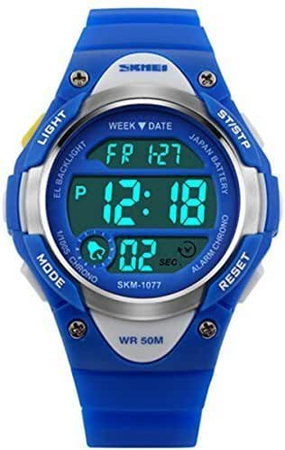 Misskt Children Watch Outdoor Sports Kids Boy Girls LED Digital Alarm Stopwatch Waterproof Children's Dress Watches Blue