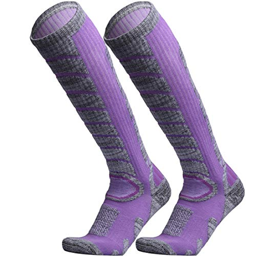 WEIERYA Ski Socks 2 Pairs Pack for Skiing, Snowboarding, Cold Weather, Winter Performance Socks Purple Large