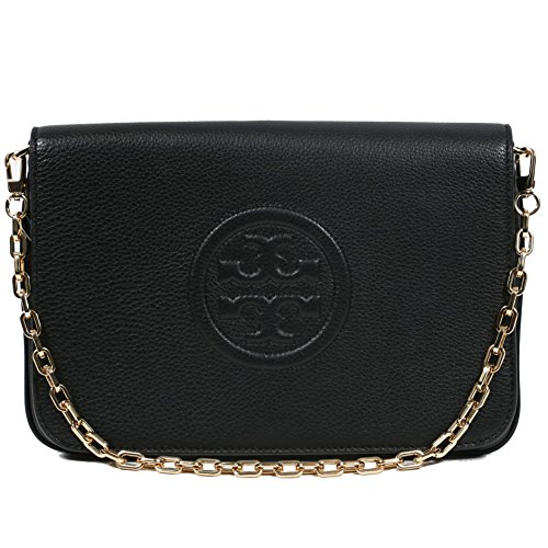 Tory Burch Bombe Convertible Clutch Leather TB Logo (Black) by Tory Burch