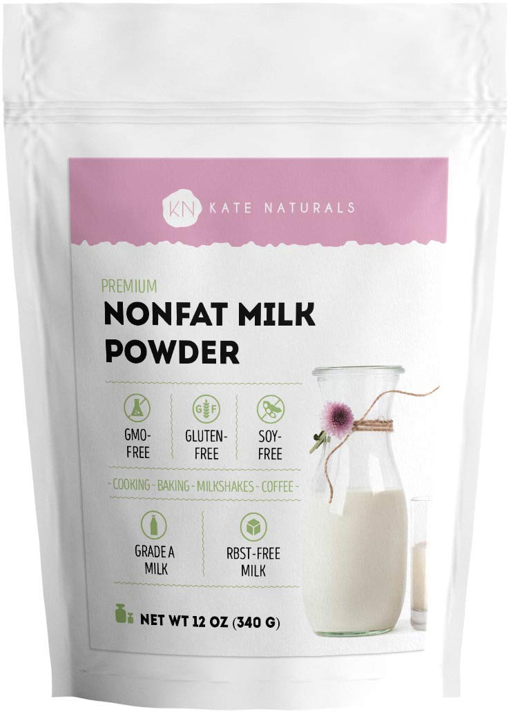 Nonfat Dry Milk Powder - Kate Naturals. Made In USA. Skim Milk Powder. RBST-Free. Great Substitute For Liquid Milk. Large Resealable Bag.1-Year Guarantee. (12oz)