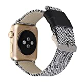 Wanhua Watch Band for Apple Watch, Stripe Pattern Canvas Woven Fabric Genuine Leather Replacement Bracelet Wrist Strap for iWatch Series 1 Series 2 Series 3 Sport & Edition (38mm, Black & White)