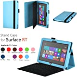Elsse (TM) Premium Folio Case with Stand for Microsoft Surface Windows 8 RT (Does not fit Windows 8 Pro Version) - White (Surface RT, Light Blue)