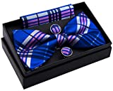 Retreez Stylish Tartan Plaid Check Woven Microfiber Pre-tied Bow Tie (Width: 5'') with matching Pocket Square and Cufflinks, Gift Box Set as a Christmas Gift, Birthday Gift - Blue