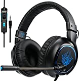 [GW Sades R5 Gaming Headset ] 3.5mm Wired Over Ear Bass Stereo Gaming Headphones with Mic & Noise Cancelling & Volume Control for New Xbox One / PC / Mac/ PS4/ Table/ Phone (Black&Blue)