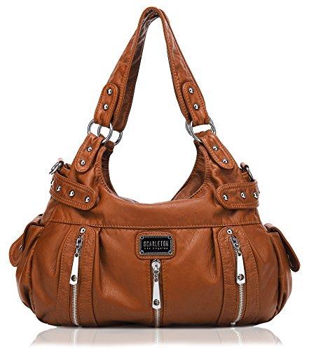 Scarleton 3 Front Zipper Washed Shoulder Bag H129204A - Brown (Soft Handbag)