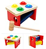Wood Collection(TM) Wooden Pounding Bench - Pound & Tap Pounder Bench Slide with Balls and Hammer for Child 2 Year and Up - Perfect Christmas Gift for Your Kids