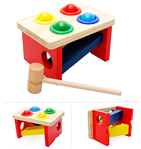 Wood CollectionTM Wooden Pounding Bench Pound Tap Pounder Bench Slide with Balls and Hammer for Child 2 Year and Up Perfect Christmas Gift for Your Kids
