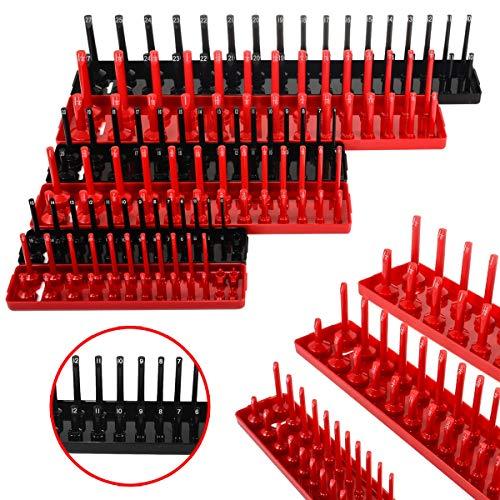 JIAIIO 6pcs Black/Red 1/4'' 3/8'' 1/2'' Metric SAE Socket Tray Rack Holder Garage Tool Organizer by JIAIIO (Image #6)