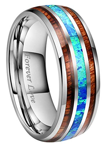 Kingary 8mm Mens Tungsten Carbide Ring Blue Opal Rare Koa Wood Inlay Wedding Band Ring High Polished Engraved Forever Love Size 6 to 17 (8mm,15)