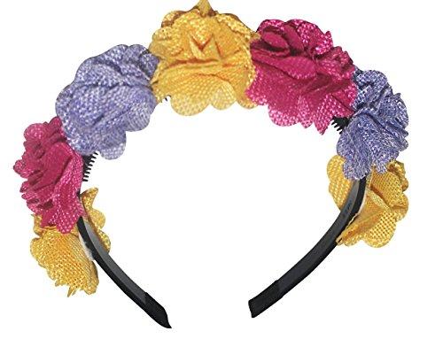 B Unique Bowtique, Headband, yellow, pink, purple, burlap flowers for girls.