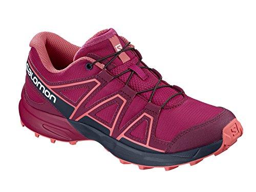 Salomon Kids' Speedcross J Trail Running Shoe, Cerise/Navy Blazer/Dubarry, 5 Child US
