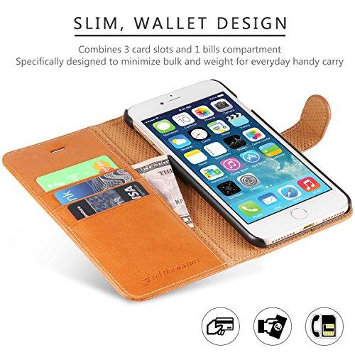 iPhone 8 Plus Hülle, iPhone 7 Plus Hülle, SHIELDON [Lebenslange Garantie] Echtleder Handyhülle iPhone 7 Plus Tasche mit Kartenfach Magnetverschluss Standfunktion, Cognac Braun