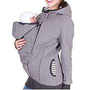 Teamoluna Womens Maternity Kangaroo Hooded Sweatshirt for Baby Carriers (US,M/Asia,L) Gray