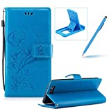 Strap Leather Case for Huawei P10 Plus,Portable Wallet Case for Huawei P10 Plus,Herzzer Bookstyle Pretty Stylish [Blue Butterfly Flower Design] Stand Magnetic Smart Flip Case with Soft Inner for Huawei P10 Plus + 1 x Free Blue Cellphone Kickstand + 1 x Free Blue Stylus Pen