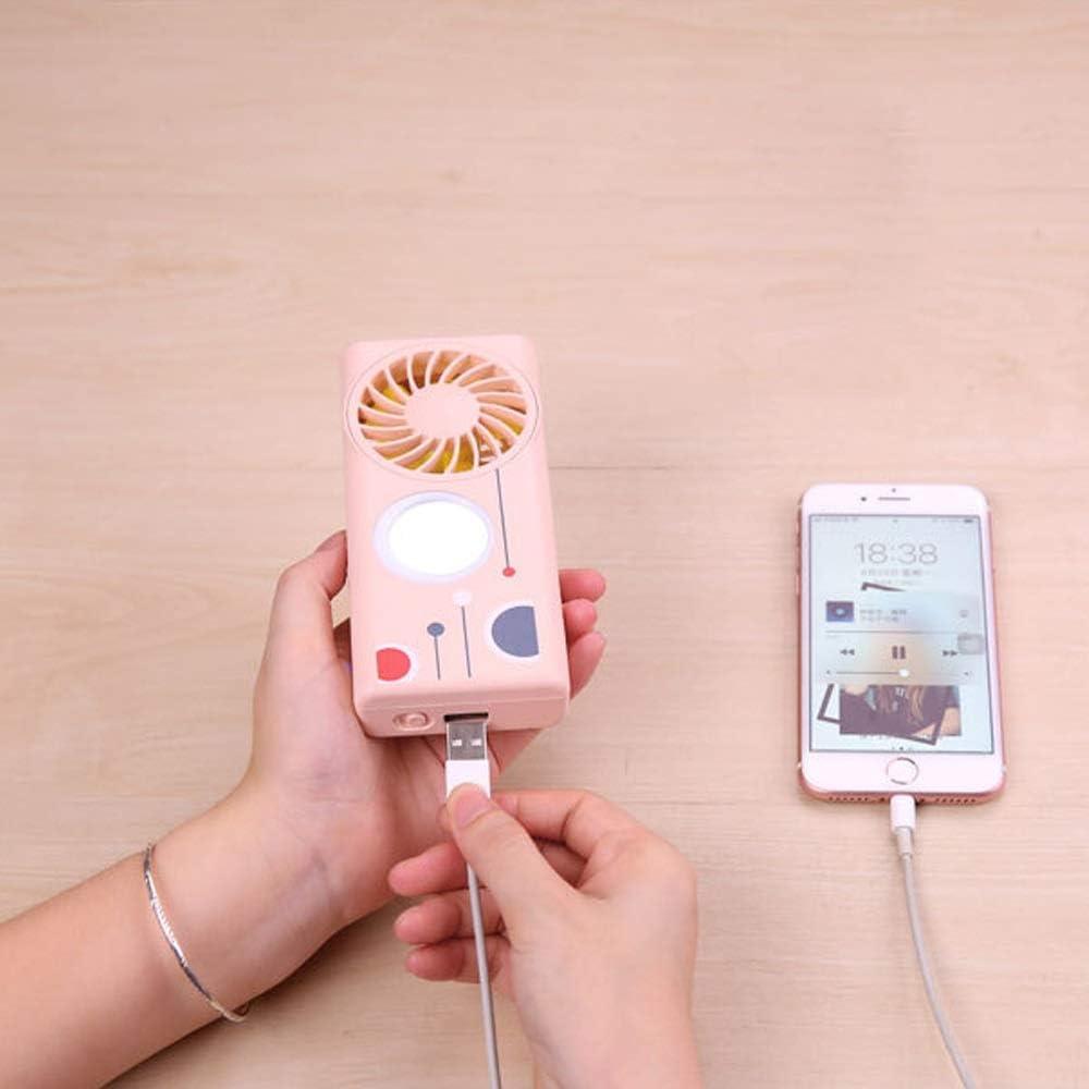 Color : B BNSDMM Aromatherapy Beauty Hand Fan with Mobile Power Fill Light Mirror Fan Portable Charging Mini Fan 3.7V