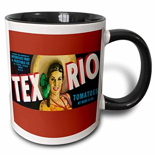 (3dRose BLN Vintage Label and Advertising Art - Tex Rio Tomatoes La Feria Texas with Pretty Girl in Colorful Outfit - 15oz Two-Tone Black Mug (mug_171117_9))