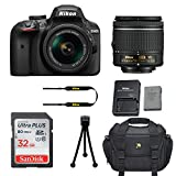 Nikon D3400 DSLR Camera with Nikon AF-P DX 18-55mm f/3.5-5.6G VR Lens + 32GB Memory Card + Camera Carrying Bag + Tripod (Certified Refurbished)