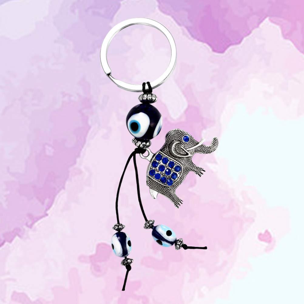 Vosarea Elefante Turco Ojo Llavero Llavero del Coche Bolso Monedero Colgante decoración Adorno Colgante Regalo Creativo