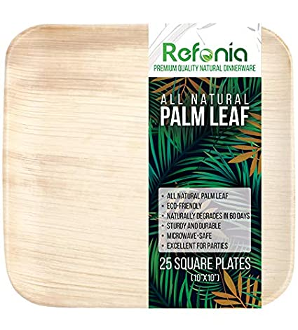 "Refonia All Natural Bamboo Palm Leaf Plates Disposable - 10"" Square Plates  - 25 Count - 100% Compostable & Biodegradable, BPA Free - Excellent for"