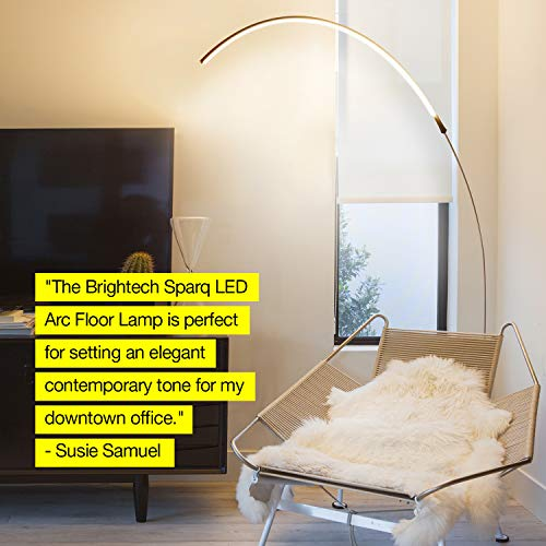 Brightech Sparq Arc LED Floor Lamp - Bright Standing Lamp for Living Room - Modern Arched Light for Behind the Couch - Dimmable Pole Lamp– Silver by Brightech (Image #8)