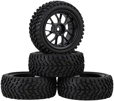 Mxfans 12mm六角ブラックプラスチックY型ホイールリム+ゴムBeardパターンタイヤfor RC 1: 10On Road Racing車スペアパーツのセット4