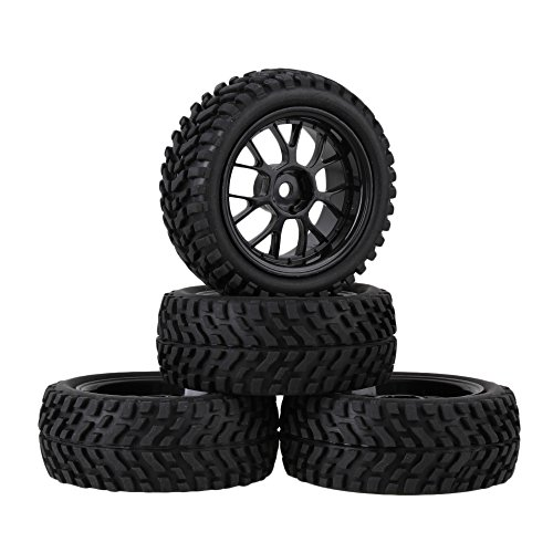 Tyre Pattern - Mxfans 12mm Hex Black Plastic Y Shape Wheel Rims + Rubber Beard Pattern Tyres RC 1:10 On Road Racing Car Spare Parts Pack of 4