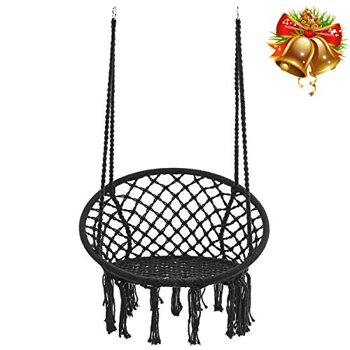 KINGSO Hammock Chair Macrame Swing, Handmade Knitted Hanging Cotton Rope Chair for Indoor/Outdoor Home Patio Deck Yard Garden Reading Leisure, 325 Pounds Capacity (Black)