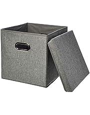 AmazonBasics Foldable Burlap Cloth Cube Storage Bin with Lid