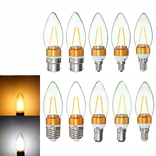 Gold Hill Flush Fixture (Lights & Lighting - E27 E14 E12 B22 B15 2w Non-Dimmable Edison Filament Incandescent Candle Light Bulb Lamp 110v - Filament Candle Bulb Small Candles Ceiling Bulbs Base Light Fans - Led For - 1PCs)