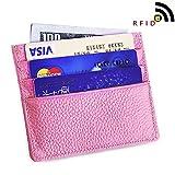 RFID Blocking Minimalist Slim Wallet Genuine Leather Front Pocket Wallet Pink