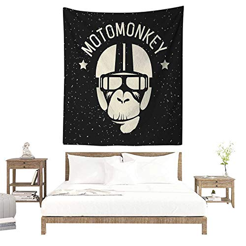 Outer Space DIY Tapestry Sign Alien Monkey with Astronaut Costume in a Galaxy with Stars Poster Literary Small Fresh 57W x 74L INCH Black and White -