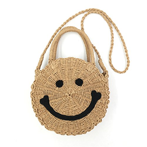 à Sac à Main FRGYHJK Tissé BandoulièRe La pour à Khaki Bag Cuir Bag Smile BandoulièRe en Beach Femme Sac Bohemian P5F5q7