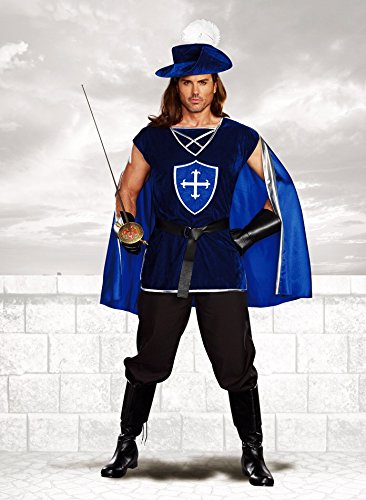 Adult Musketeer Hat (Dreamgirl Men's Mighty Musketeer , Blue, Medium)