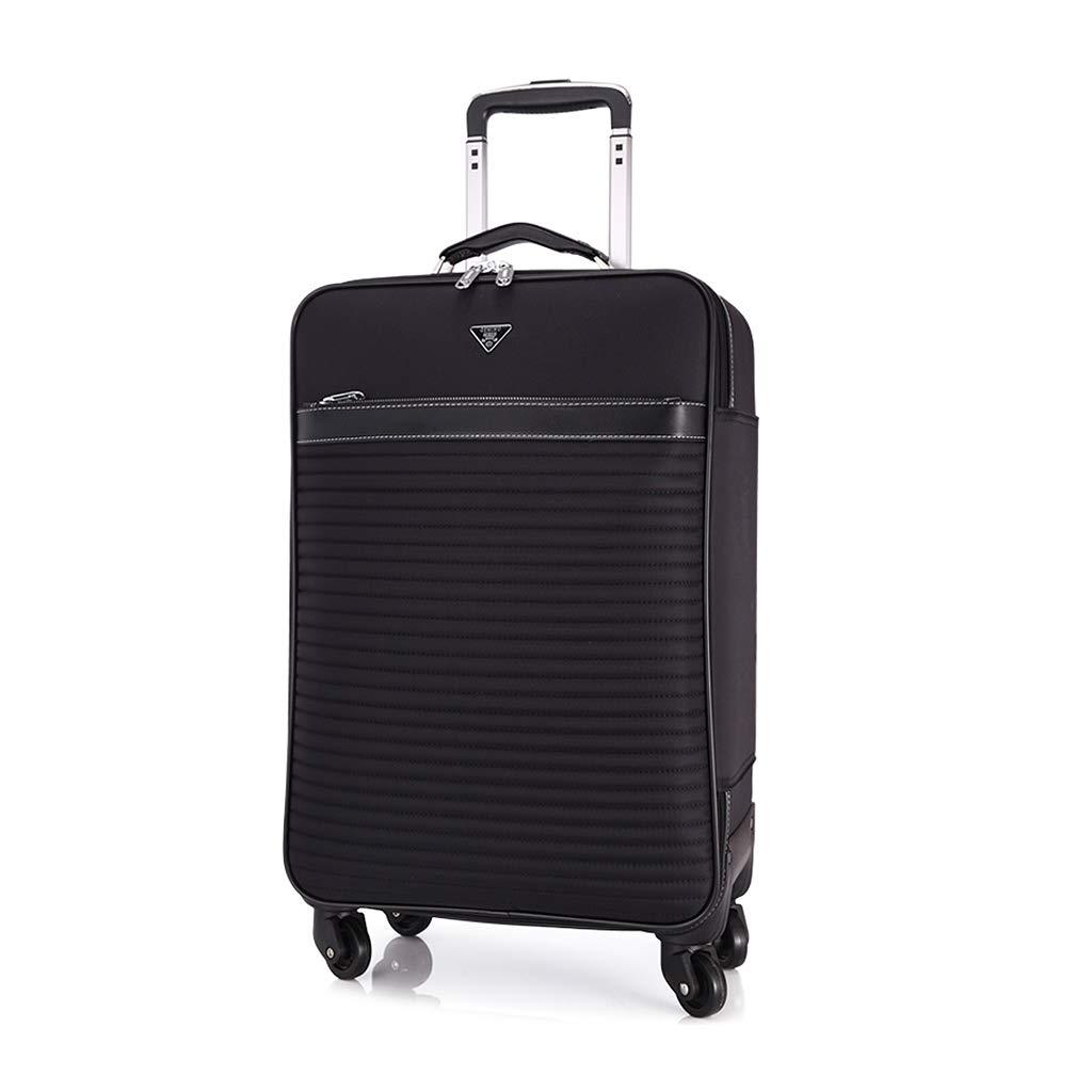 ローリング荷物オックスフォード布、軽量防水旅行スーツケース、荷物ロック付きブラック荷物 B07MNRDDD9  24 inch