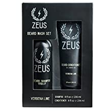 Zeus Beard Shampoo and Beard Conditioner Set for Men - (8 oz. Bottles) (Verbena Lime)