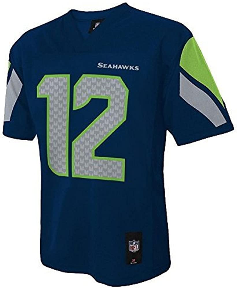 Outerstuff Seattle Seahawks 12th Fan NFL Youth Mid-Tier Team Jersey Navy (Youth Large 14/16)