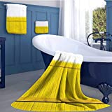 WolfgangDecor Yellow Highly Absorbent Hotel Quality Towels Set Colorful Wooden Picket Fence Design Suburban Community Rural Parts of Country Cotton Hand Towels Set Yellow Mustard