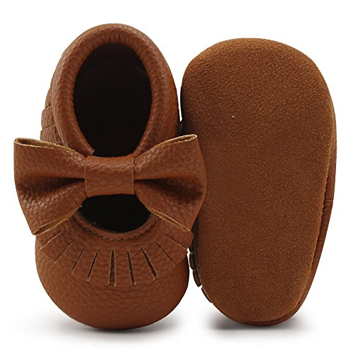 Delebao Infant Toddler Baby Soft Sole Tassel Bowknot Moccasinss Crib Shoes (0-6 Months, Brown) (Brown Baby Shoes)