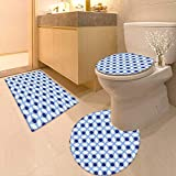 Printsonne 3 Piece Toilet mat Set White Conceptual Cultural Nature Design Arabian Flower Decorations Light Blue White Apricot 3 Piece Shower Mat Set