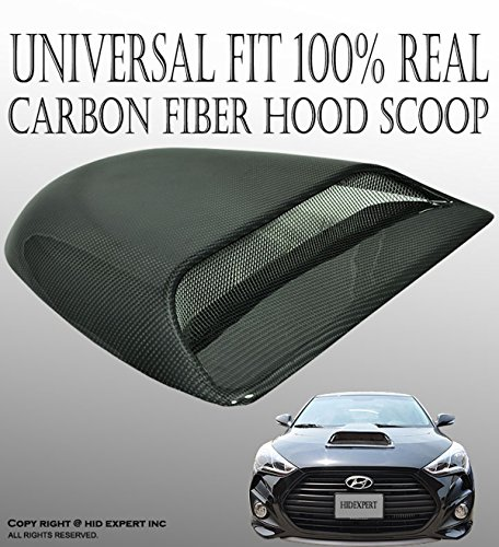 ICBEAMER Universal JDM Style Decorative Hood Scoop Black Air Flow Intake Vent Cover Auto Car Racing [Real Carbon Fiber] (Vents Hood Coupe Genesis)