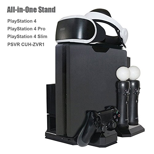 Charger & Vertical Display Stand – Multi Charging Station, Cooling Fan Cooler, PSVR Glasses Holder Bracket for PlayStation PS VR Headset, PS4, Pro, Slim Console, DualShock 4 & Move Motion Controller