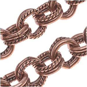Antiqued copper plated textured double round for Craft chain by the foot