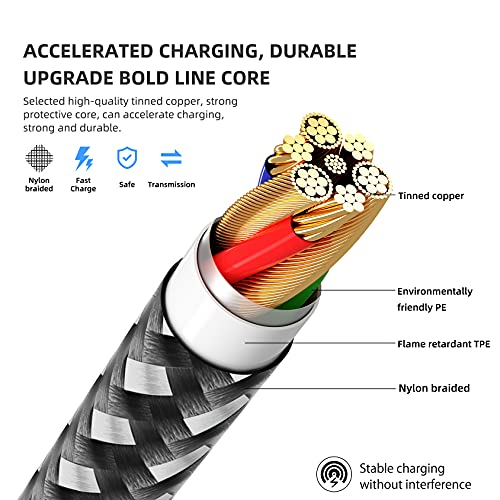 MFi Certified iPhone Charger 2021 Upgrade 3Pack 10FT Lightning Cable Fast Charging Nylon Braided Syncing Long Cord Compatible with iPhone 12/11 Pro Max/Xs/X/XR/8/7/ 6s/5 and More