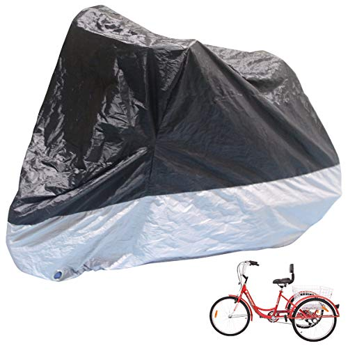 H&ZT Adult Tricycle Cover Bike Cover, Outdoor Bicycle Motocycle Storage Cover, Heavy Duty Ripstop Material, Waterproof & Anti-UV (75″ L x 30″ W x 44″ H)