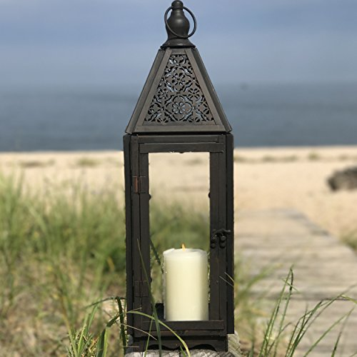 Whole House Worlds The Farmer's Market Faded Lace Candle Lantern Hurricane, Tempered Glass, Rustic Dark Bronze, Distressed Finish, Weathered Rust Patina, 21 Inches Tall Including Loop, By