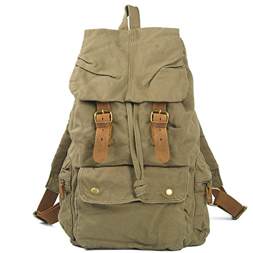 VINICIO Traditional Vintage Zipper Canvas Travel Bag Multi Pocket Handbag Laptop Bag(ArmyGreen Bag£ (E Fun Netbook)