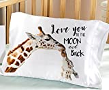 Personalized Big Giraffe Little Giraffe Love You to the Moon and Back Pillowcase (Toddler)