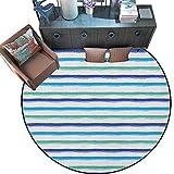 "perfect minimalist patio design Harbour Stripe Round Soft Area Rugs Brushstroke Lines Backdrop in Several Tones Modern Minimalist Design Perfect for Any Room, Floor Carpet (59"" Diameter) Royal Blue Seafoam"