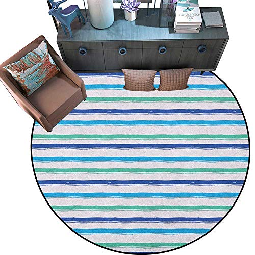 """Harbour Stripe Round Soft Area Rugs Brushstroke Lines Backdrop in Several Tones Modern Minimalist Design Perfect for Any Room, Floor Carpet (59"""" Diameter) Royal Blue Seafoam"""